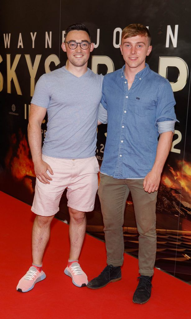 Darragh Rooney and Ben Melvin pictured at the Universal Pictures special preview screening of SKYSCRAPER, at Odeon Point Square, Dublin. Picture: Andres Poveda