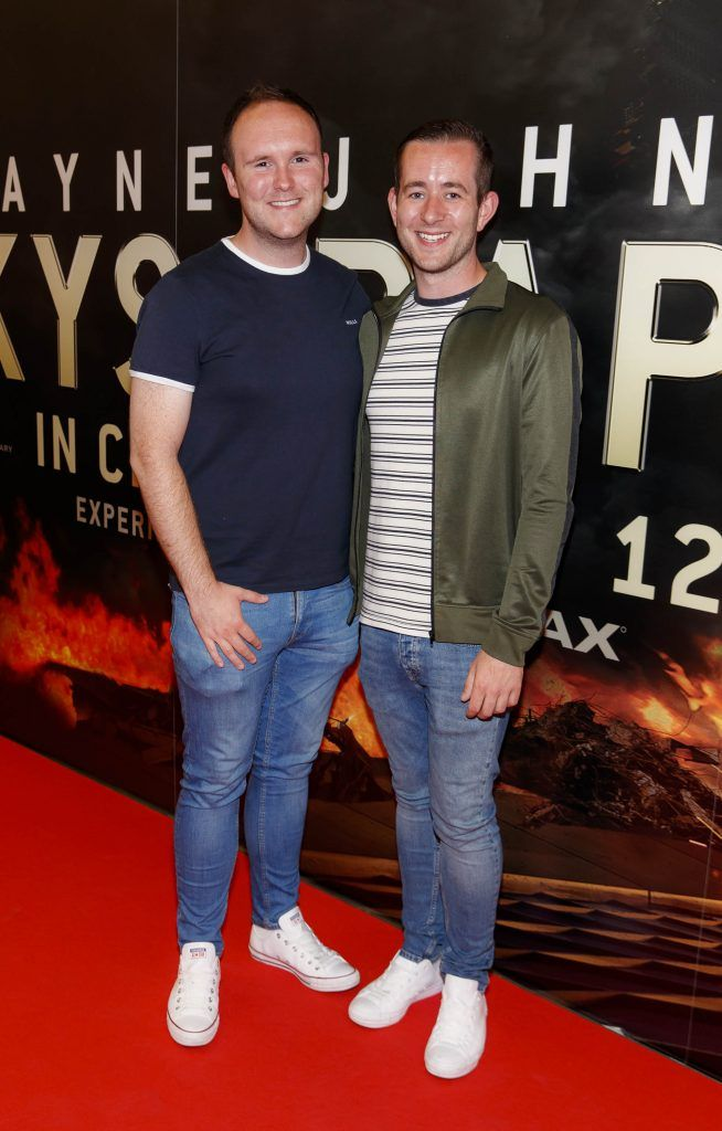 Ken O'Neill and Andrew Kavanagh pictured at the Universal Pictures special preview screening of SKYSCRAPER, at Odeon Point Square, Dublin. Picture: Andres Poveda