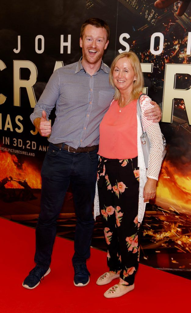 Stephen Flannagan and Gabrielle Byrne pictured at the Universal Pictures special preview screening of SKYSCRAPER, at Odeon Point Square, Dublin. Picture: Andres Poveda