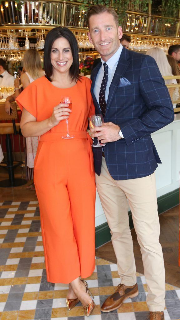 Lucy Kennedy and Paul Byrom pictured at The Ivy Dawson Street's VIP Preview Evening on Monday, 16 July. Photo: Leon Farrell