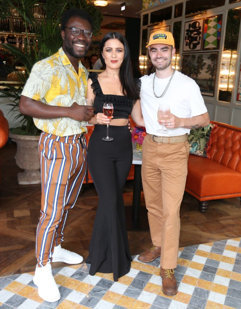 Timi Ogunyemi,Karli Mulvaney and Jake McCabe pictured at The Ivy Dawson Street's VIP Preview Evening on Monday, 16 July. Photo: Leon Farrell