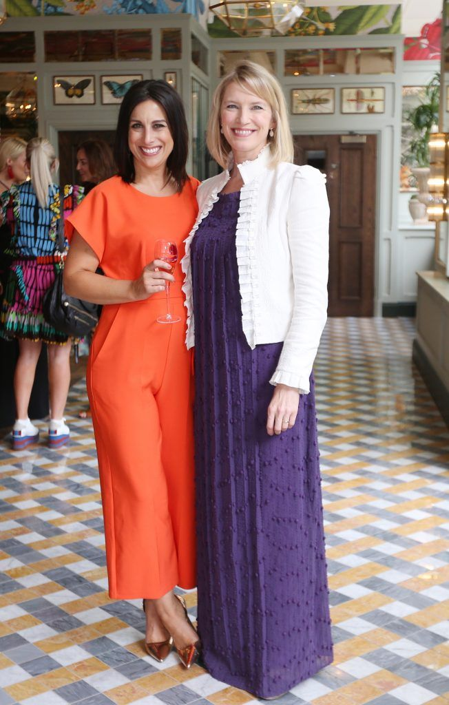 Lucy Kennedy and Pamela Flood pictured at The Ivy Dawson Street's VIP Preview Evening on Monday, 16 July. Photo: Leon Farrell