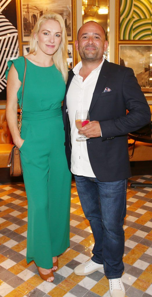 Hayley Elliott and Niall Sabongi pictured at The Ivy Dawson Street's VIP Preview Evening on Monday, 16 July. Photo: Leon Farrell