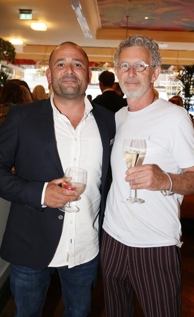 Chefs Niall Sabongi and  Kevin Thornton pictured at The Ivy Dawson Street's VIP Preview Evening on Monday, 16 July. Photo: Leon Farrell