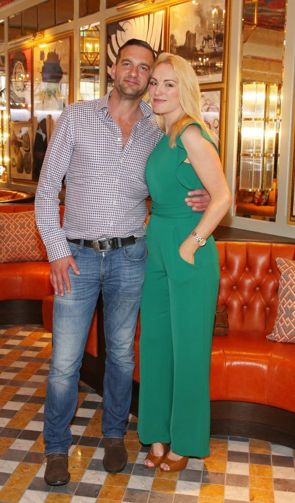 Alan Rudd and Hayley Elliott pictured at The Ivy Dawson Street's VIP Preview Evening on Monday, 16 July. Photo: Leon Farrell