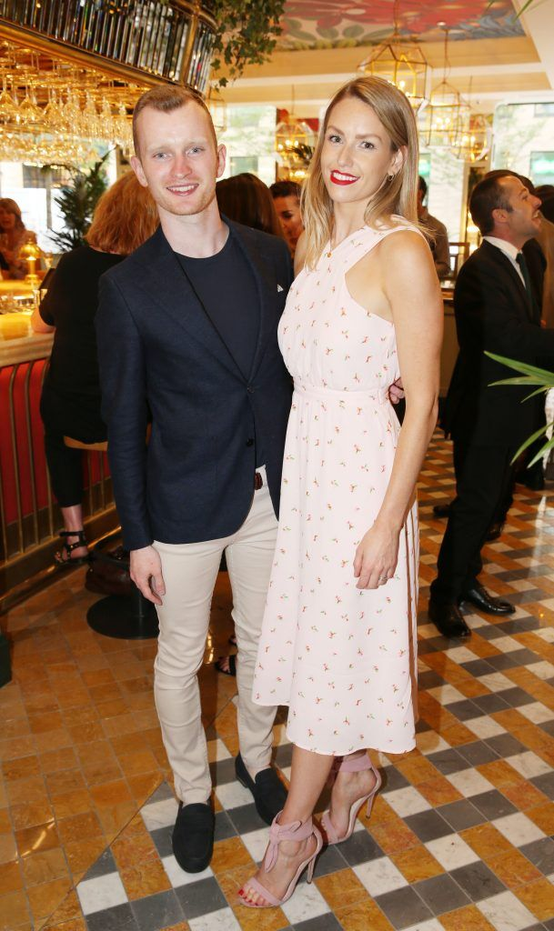 Ian Collins and Lia Stokes pictured at The Ivy Dawson Street's VIP Preview Evening on Monday, 16 July. Photo: Leon Farrell