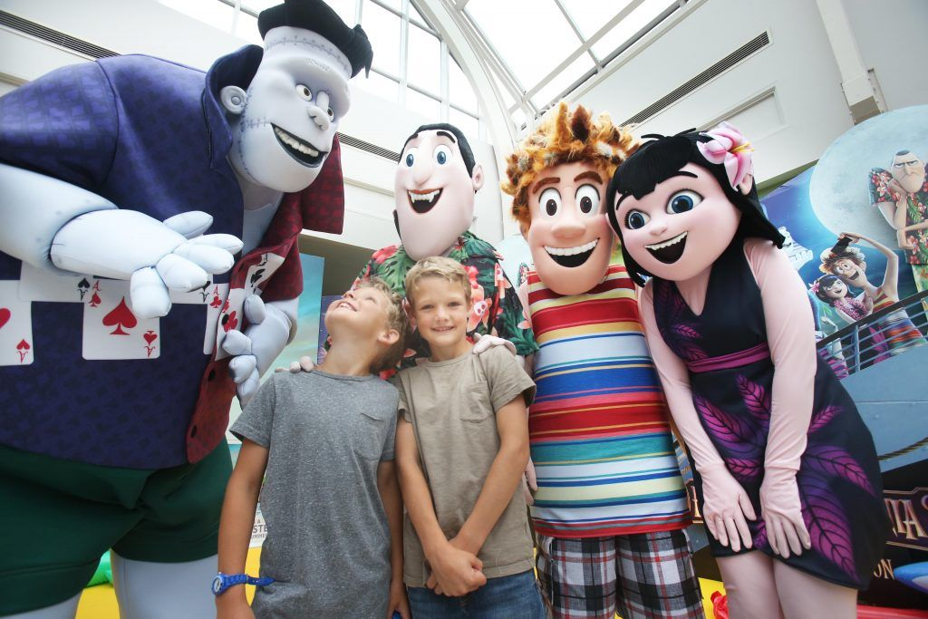 James 7yrs and Jack 8yrs Collins meet some of the Characters from Hotel Transylvania 3 at the mulitimedia screening in Omniplex Rathmines. Photo: Leon Farrell.