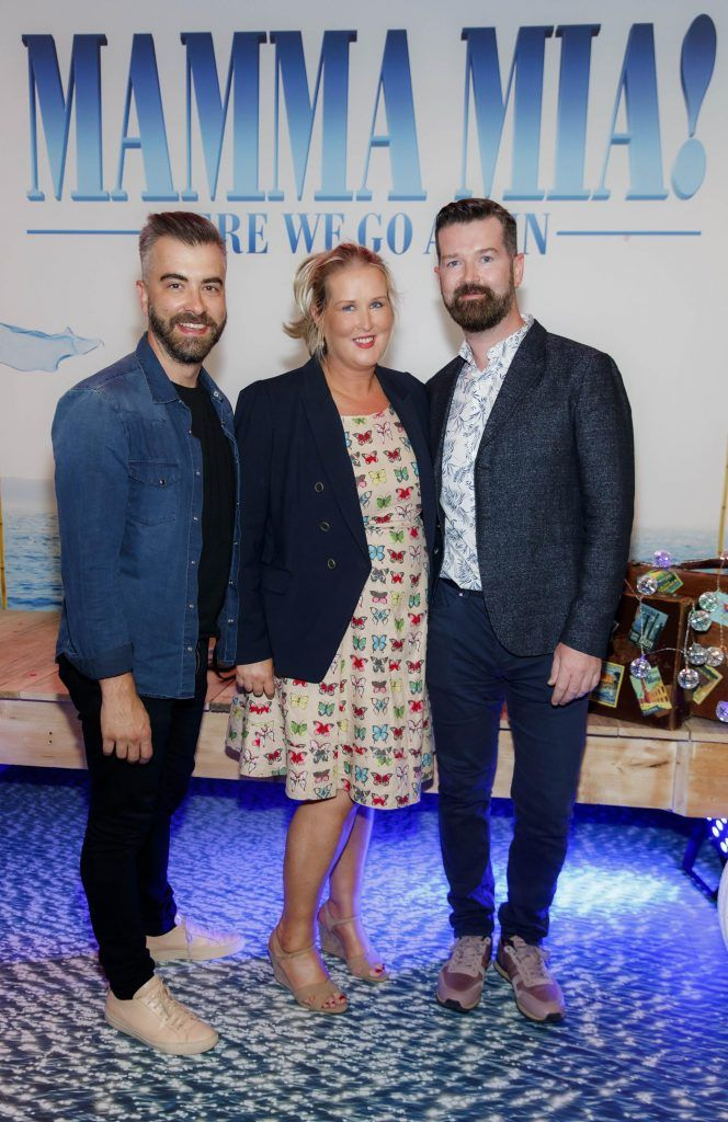 Miguel Rivas, Erica Griffin and Dave Burke pictured at  the Universal Pictures Irish premiere screening of MAMMA MIA! HERE WE GO AGAIN at Odeon Point Square, Dublin. Picture Andres Poveda
