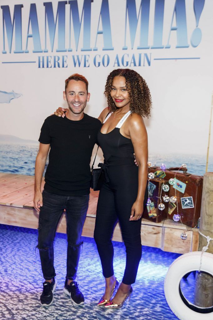 Carl Maguire and Samantha Mumba pictured at the Universal Pictures Irish premiere screening of MAMMA MIA! HERE WE GO AGAIN at Odeon Point Square, Dublin. Picture Andres Poveda