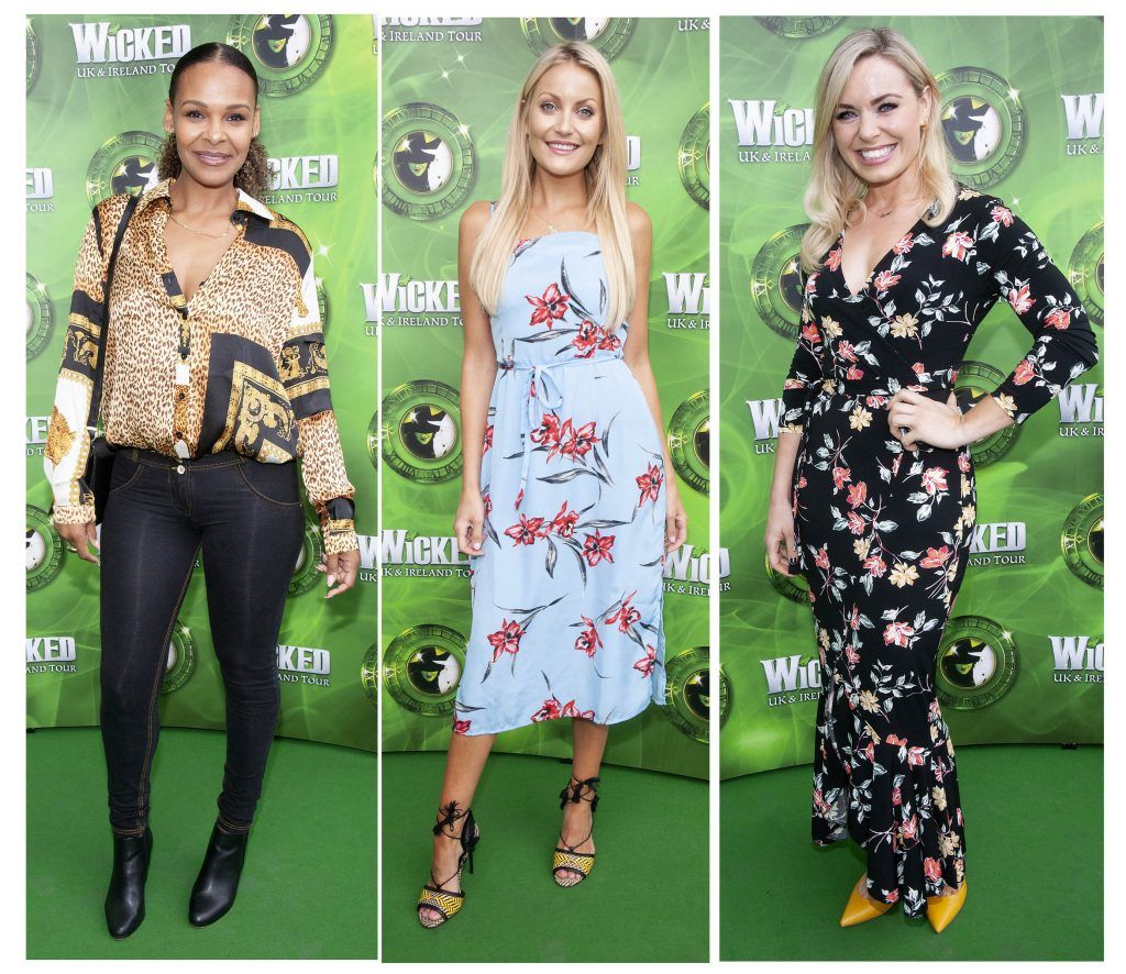 Samantha Mumba,Kerri Nicole Blanc and Anna Geary pictured at the opening night of the West End Musical Wicked at the Bord Gais Energy Theatre ,Dublin Picture: Brian McEvoy Photography
