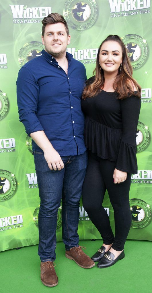 Joe Carlyle and Vicki Notaro  pictured at the opening night of the West End Musical Wicked at the Bord Gais Energy Theatre ,Dublin Pic Brian McEvoy Photography No Repro fee for one use