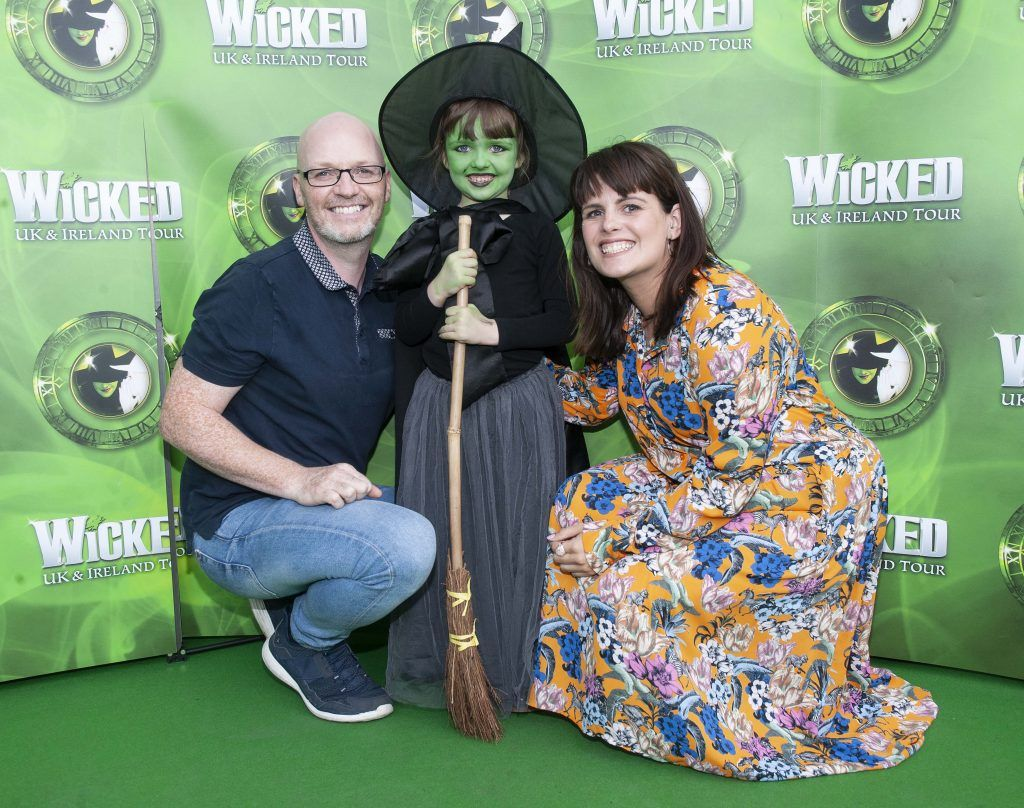 Paul Lynch, Penny Lynch  and Sooby Lynch pictured at the opening night of the West End Musical Wicked at the Bord Gais Energy Theatre ,Dublin Picture: Brian McEvoy Photography