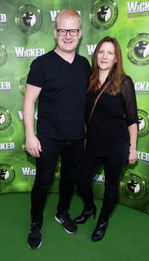 Stephen Cooper and Lisa Cooper pictured at the opening night of the West End Musical Wicked at the Bord Gais Energy Theatre ,Dublin Picture: Brian McEvoy Photography