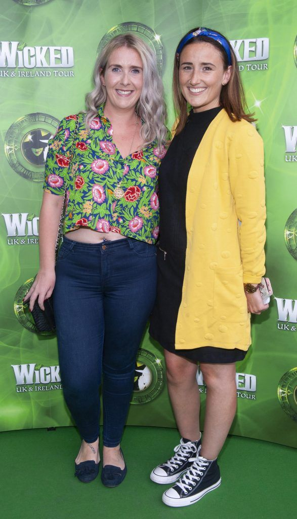 Katie Power and Laura Murphy pictured at the opening night of the West End Musical Wicked at the Bord Gais Energy Theatre ,Dublin Picture: Brian McEvoy Photography