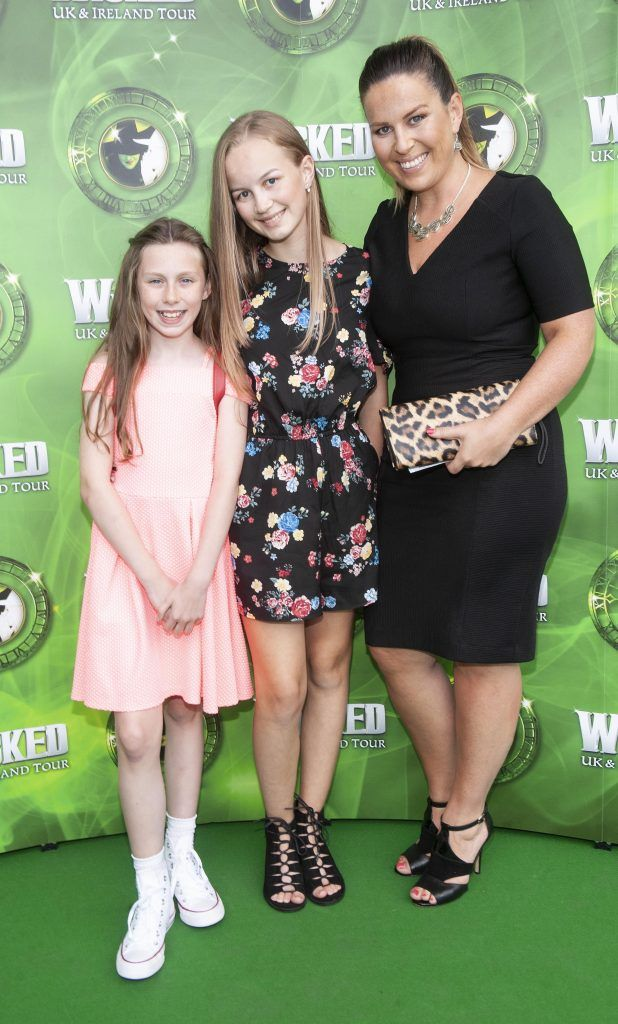 Skye Quinn, Caitlin Murray and Jen Murray pictured at  the opening night of the West End Musical Wicked at the Bord Gais Energy Theatre ,Dublin Picture: Brian McEvoy Photography