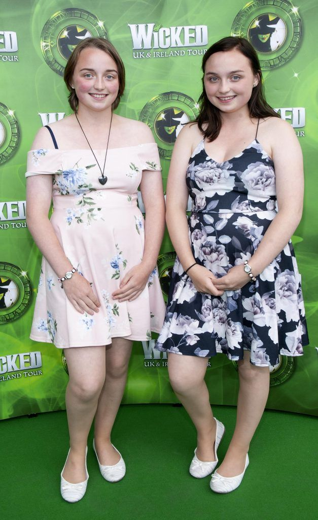Aimee Walker and Hannah Walker pictured at the opening night of the West End Musical Wicked at the Bord Gais Energy Theatre ,Dublin Picture: Brian McEvoy Photography