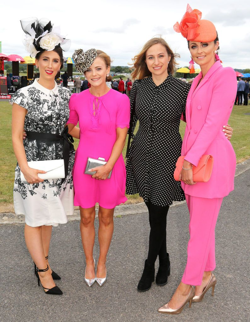 Kerrie Larkin, Orla Breathnach, Dora Curley and Fiona Glynn at the Kilbeggan Races Best Dress Lady Competition Sponsored By Bellamianta Luxury Tan and The Wineport Lodge. Picture: Aishling Conway