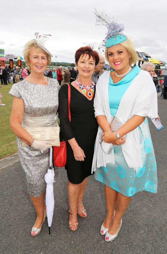 Karen Malone, Mary Maxwell and Kay Kennedy at the Kilbeggan Races Best Dress Lady Competition Sponsored By Bellamianta Luxury Tan and The Wineport Lodge. Picture: Aishling Conway