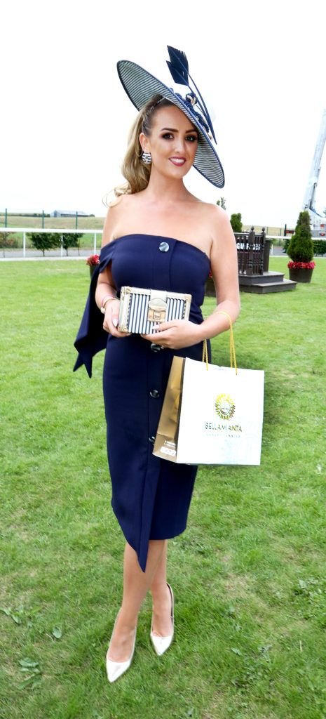 Winner of the Best Dressed competition Leah Kelly at the Kilbeggan Races Best Dress Lady Competition Sponsored By Bellamianta Luxury Tan and The Wineport Lodge. Picture Aishling Conway