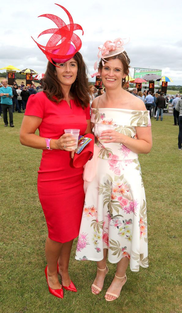 Maura Kilcommons and Sinead Brennan at the Kilbeggan Races Best Dress Lady Competition Sponsored By Bellamianta Luxury Tan and The Wineport Lodge. Picture: Aishling Conway