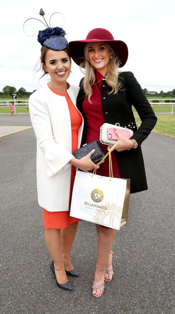 Niamh Penrose and Kelly Maguire at the Kilbeggan Races Best Dress Lady Competition Sponsored By Bellamianta Luxury Tan and The Wineport Lodge. Picture: Aishling Conway