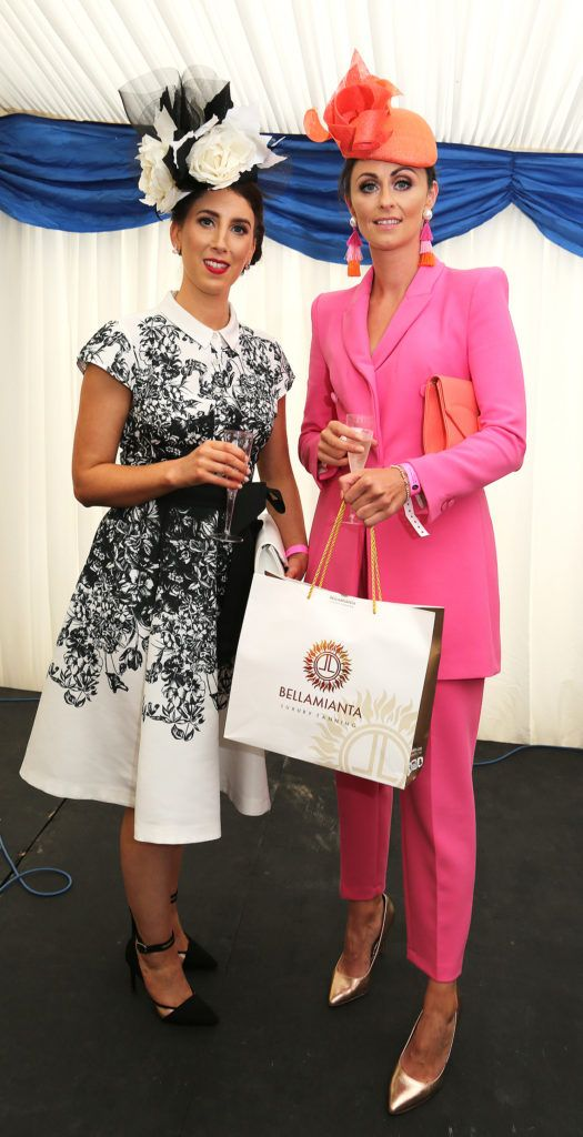 Kerrie Larkin and Fiona Glynn at the Kilbeggan Races Best Dress Lady Competition Sponsored By Bellamianta Luxury Tan and The Wineport Lodge. Picture: Aishling Conway