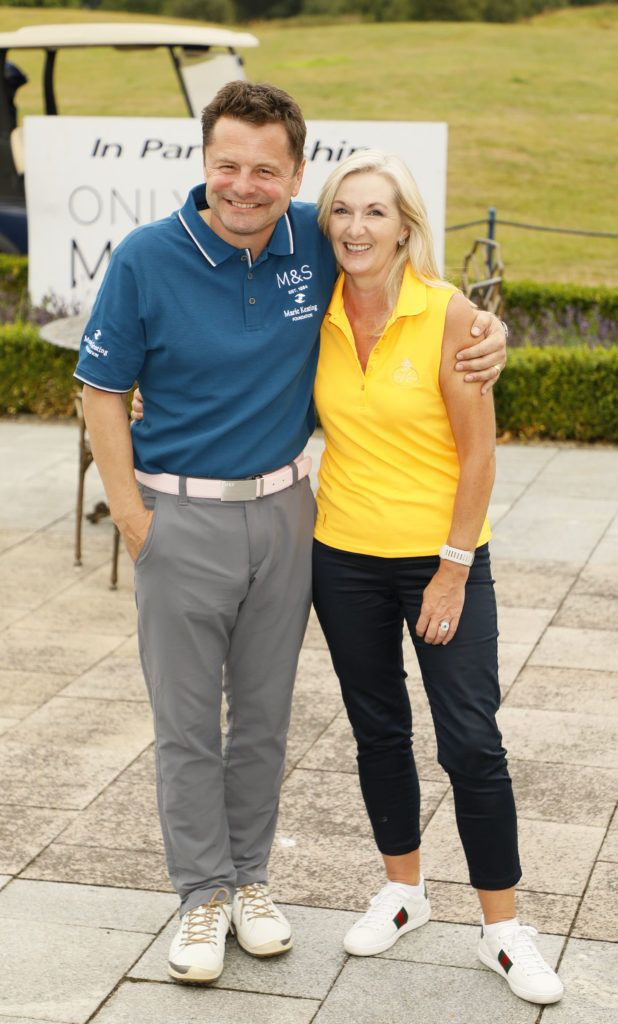 Chris Hollins and Amanda Farrell at the 2018 Marks & Spencer Ireland Marie Keating Foundation Celebrity Golf Classic. Picture: Kieran Harnett