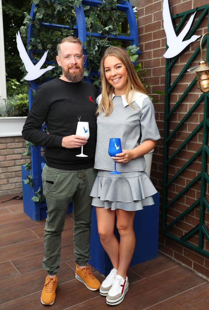 Eoin O'Suilabhain and Emma Manley pictured at the launch of OFF SCRIPT, a GREY GOOSE Production, at the Iveagh Garden Hotel. Picture: Marc O'Sullivan