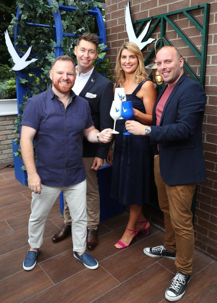 Alan Kavanagh, Darren Mynes, Leona Arkins and Philip Ryder pictured at the launch of OFF SCRIPT, a GREY GOOSE Production, at the Iveagh Garden Hotel. Picture: Marc O'Sullivan