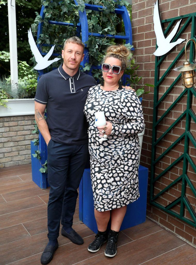 Artist Maser and Andrea Horan pictured at the launch of OFF SCRIPT, a GREY GOOSE Production, at the Iveagh Garden Hotel. Picture: Marc O'Sullivan