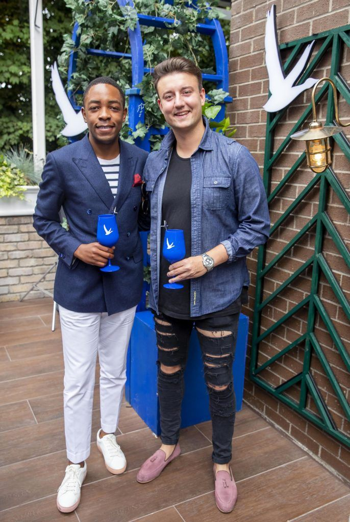 Lawson Mpame and Angelo Orsini pictured at the launch of OFF SCRIPT, a GREY GOOSE Production, at the Iveagh Garden Hotel. Picture: Marc O'Sullivan