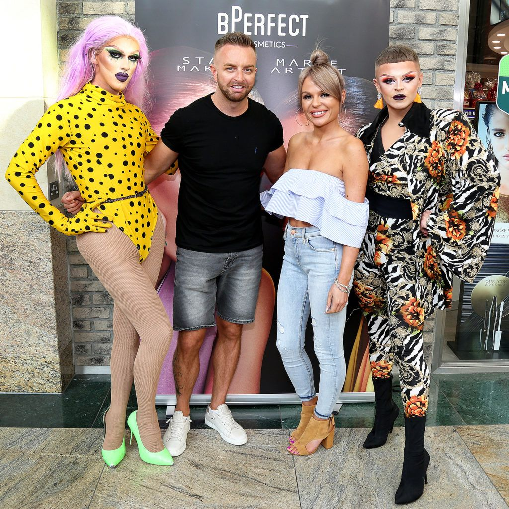 Stacey Marie and BPerfect Cosmetics founder Brendan McDowell with Pixie Woo and Ru Paul Ryder  pictured at the launch of The BPerfect Stacey Marie Carnival Palette at McCabes Pharmacy in Dundrum Town Centre ,Dublin. Picture: Aishling Conway