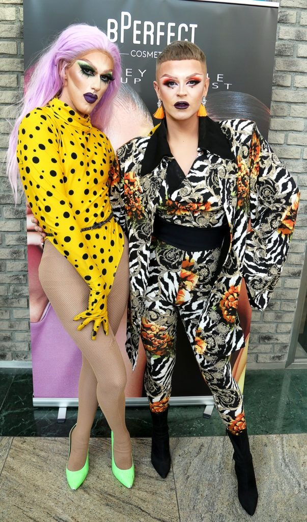 Pixie Woo and Ru Paul Ryder pictured at the launch of The BPerfect Stacey Marie Carnival Palette at McCabes Pharmacy in Dundrum Town Centre ,Dublin. Picture: Aishling Conway