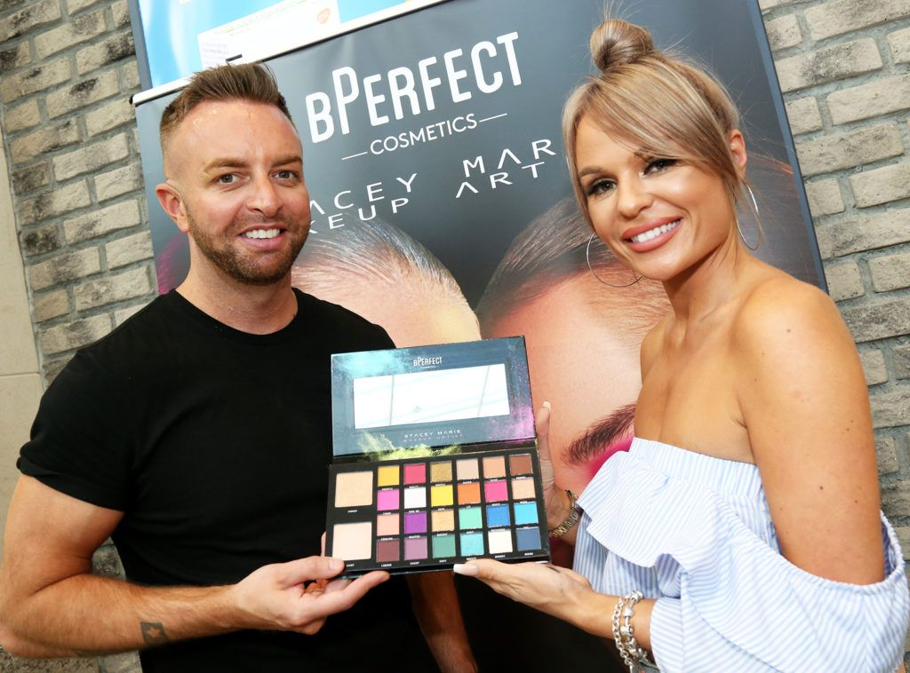 Make Up Artist Stacey Marie and BPerfect Cosmetics founder Brendan McDowell  pictured at the launch of The BPerfect Stacey Marie Carnival Palette at McCabes Pharmacy in Dundrum Town Centre ,Dublin. Picture: Aishling Conway