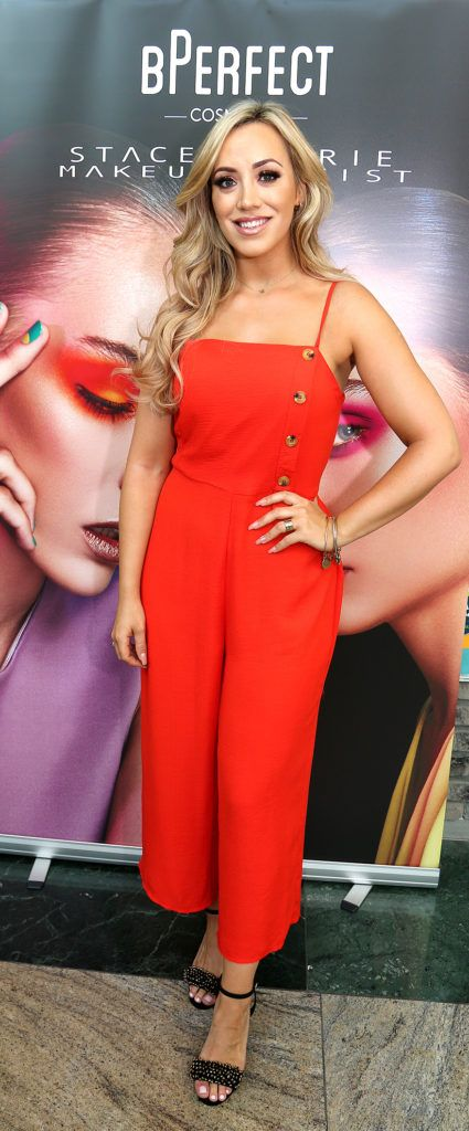 Ally McGinn pictured at the launch of The BPerfect Stacey Marie Carnival Palette at McCabes Pharmacy in Dundrum Town Centre ,Dublin. Picture: Aishling Conway
