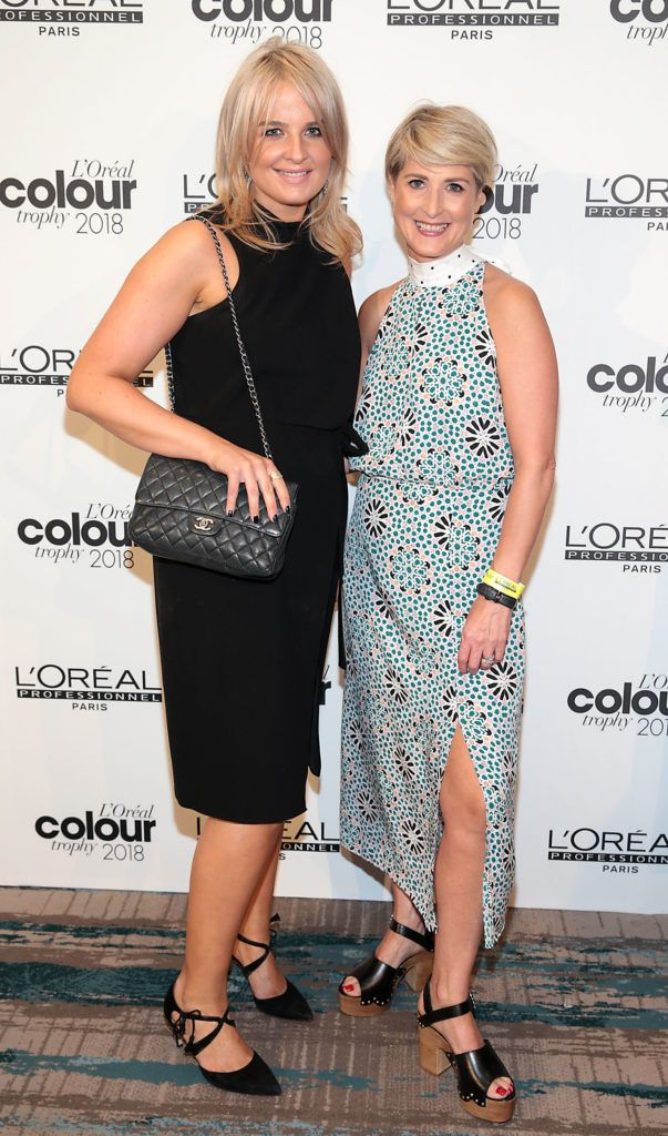 Sarah Keary and Eileen McGrath  pictured at the L'Oréal Colour Trophy Grand Final 2018 at the Clayton Hotel, Dublin. Picture: Andres Poveda