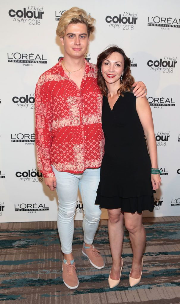 Nikolai Krivolutski and Maria Byrne pictured at the L'Oréal Colour Trophy Grand Final 2018 at the Clayton Hotel, Dublin. Picture: Andres Poveda