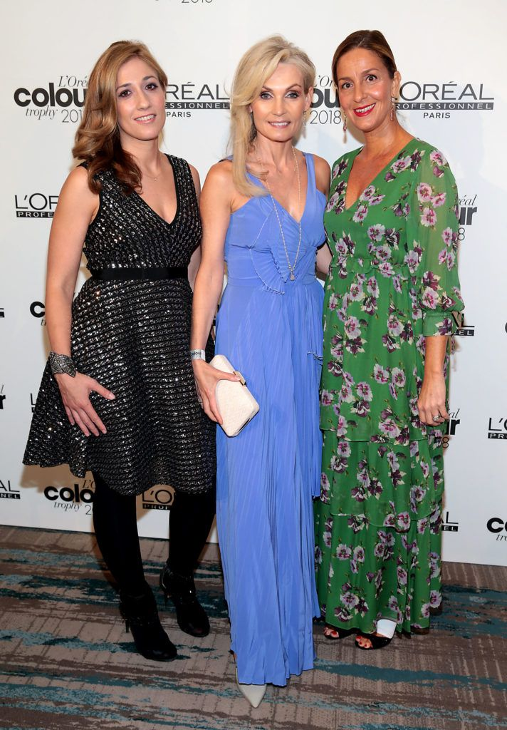 Beatrice Dauztenberg ,Angie Dromgoole and Monica Teodoro pictured at the L'Oréal Colour Trophy Grand Final 2018 at the Clayton Hotel, Dublin. Picture: Andres Poveda