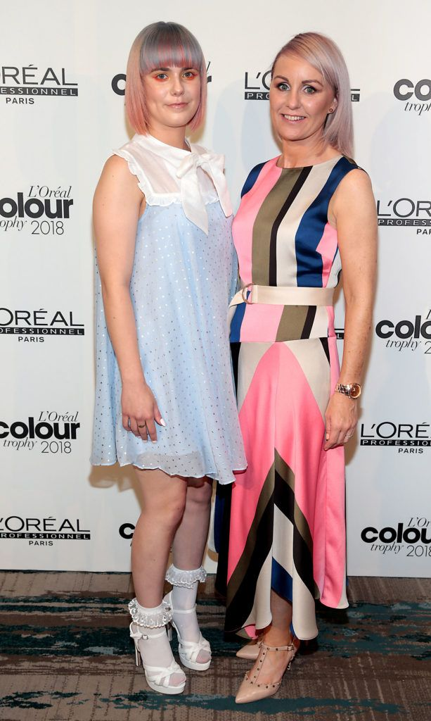 Suzy Cooke and Alwyn Reid  pictured at the L'Oréal Colour Trophy Grand Final 2018 at the Clayton Hotel, Dublin. Picture: Andres Poveda