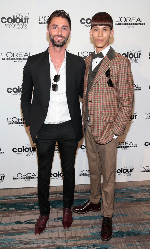 Patrick Murphy and Edward Tellas  pictured at the L'Oréal Colour Trophy Grand Final 2018 at the Clayton Hotel, Dublin. Picture: Andres Poveda
