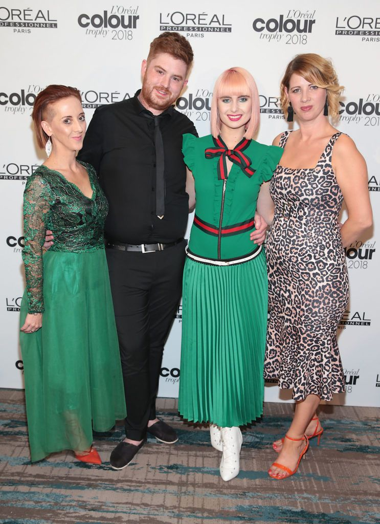 Anna McNulty,John Coss,Gabriella Ajauskaite and Mary Griffin  pictured at the L'Oréal Colour Trophy Grand Final 2018 at the Clayton Hotel, Dublin. Picture: Andres Poveda