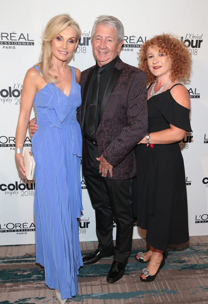 Angie Dromgoole, Gary Kavanagh and Stephanie Newman pictured at the L'Oréal Colour Trophy Grand Final 2018 at the Clayton Hotel, Dublin. Picture: Andres Poveda