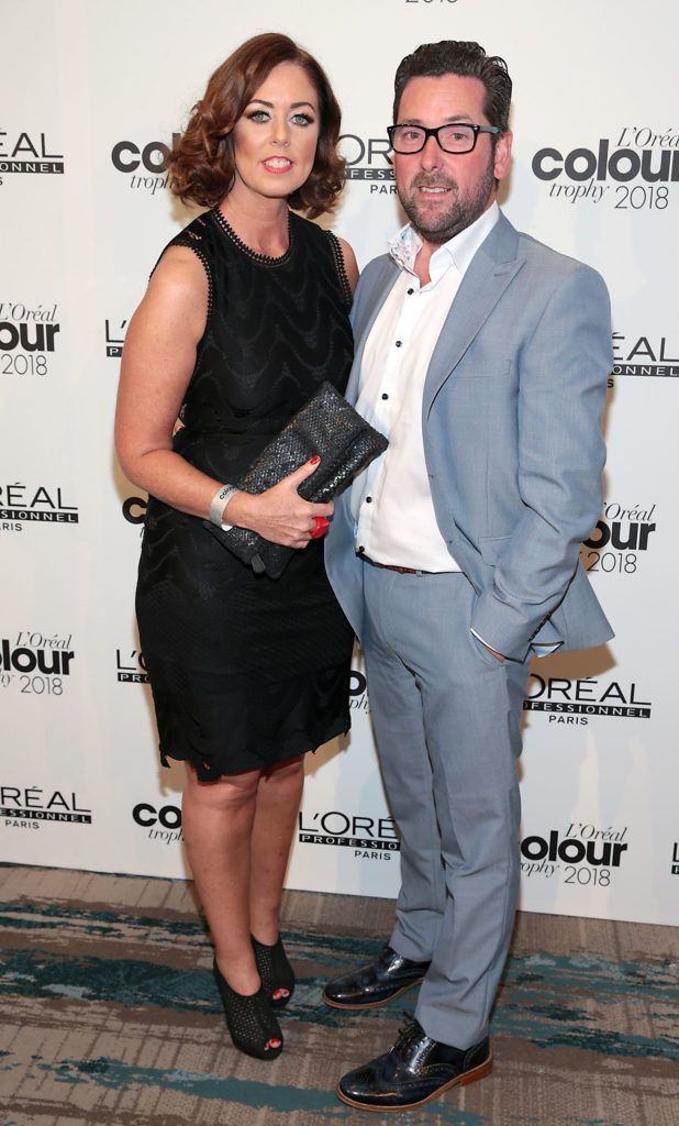 Catherine McElligott and Martin McElligott pictured at the L'Oréal Colour Trophy Grand Final 2018 at the Clayton Hotel, Dublin. Picture: Andres Poveda