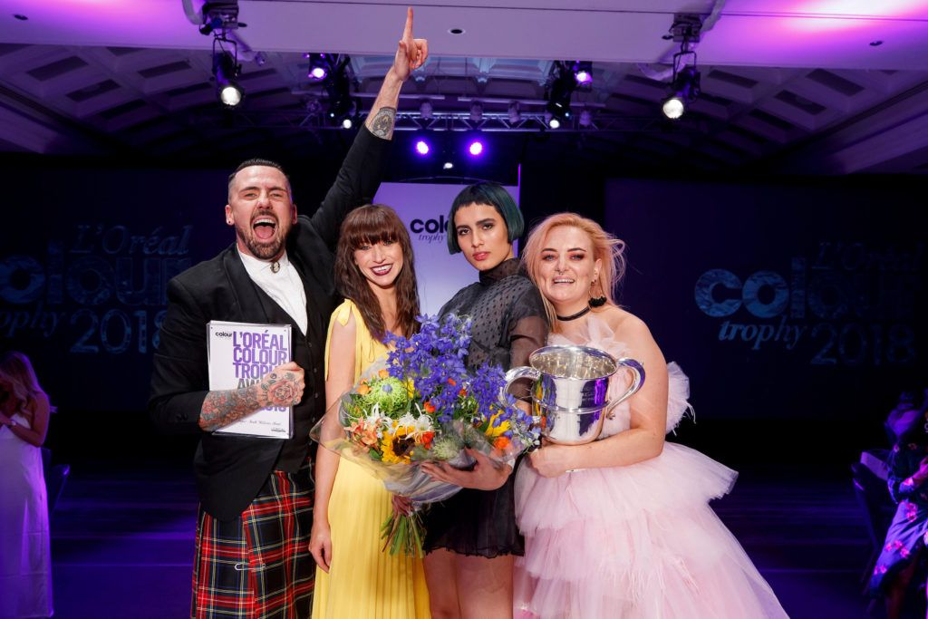 Winners Laura Reid (colourist), model Mona Viana, Deabhla Kennan (makeup artist) and James Coleman (stylist) from Brown Sugar, South William Street, pictured at the L'Oréal Colour Trophy Grand Final 2018 at the Clayton Hotel, Dublin. Picture: Andres Poveda