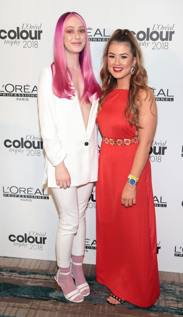 Clara Murphy and Stephanie Green pictured at the L'Oréal Colour Trophy Grand Final 2018 at the Clayton Hotel, Dublin. Picture: Andres Poveda