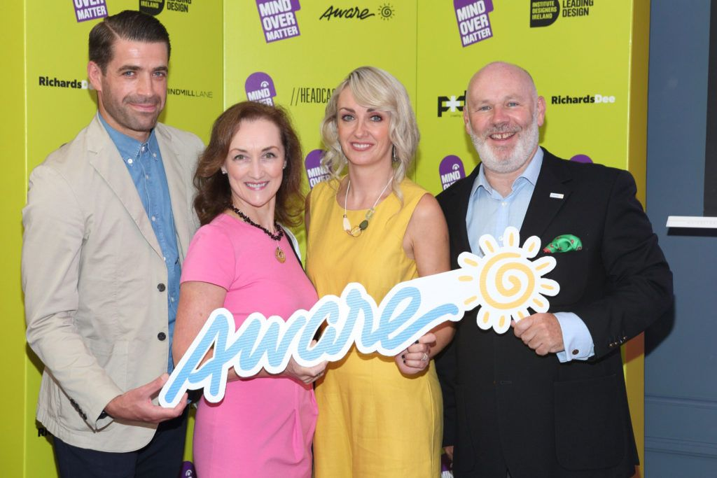 Kirk McCormack  Brid O'Meara, Kim MacKenzie-Doyle and Drew Flood  at the Institute of Designers Ireland Mind Over Matter 2018 launch in the Dean Hotel Dublin. Picture:  Brian McEvoy