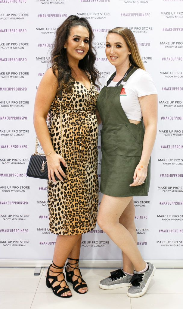 Emma Kelly and Emma McBride at the opening of the newly relocated Make Up Pro Store in Derry Picture: Brendan Gallagher