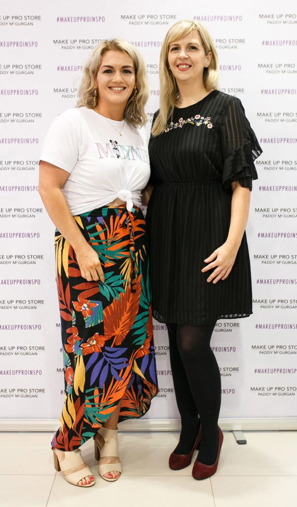 Aine O'Doherty and Laura Harkin at the opening of the newly relocated Make Up Pro Store in Derry Picture: Brendan Gallagher