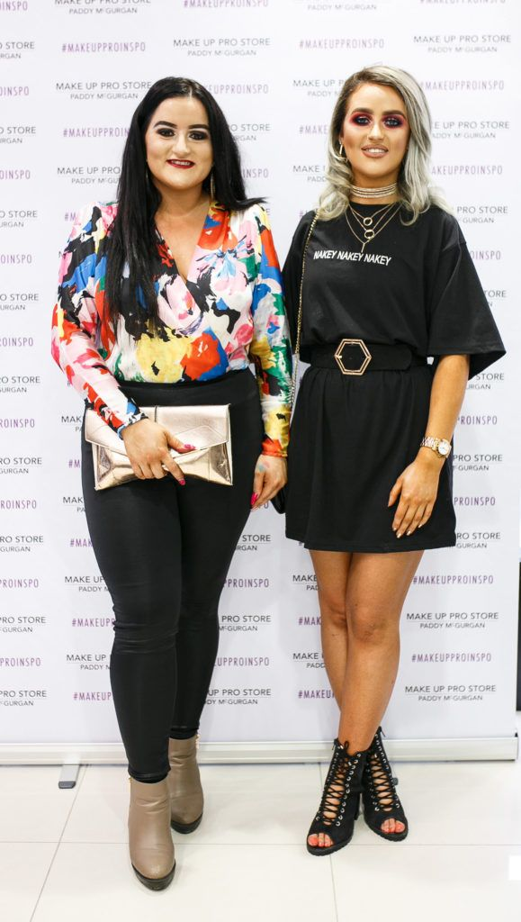 Lisa McCrory and Tori O'Connor at the opening of the newly relocated Make Up Pro Store in Derry Picture: Brendan Gallagher