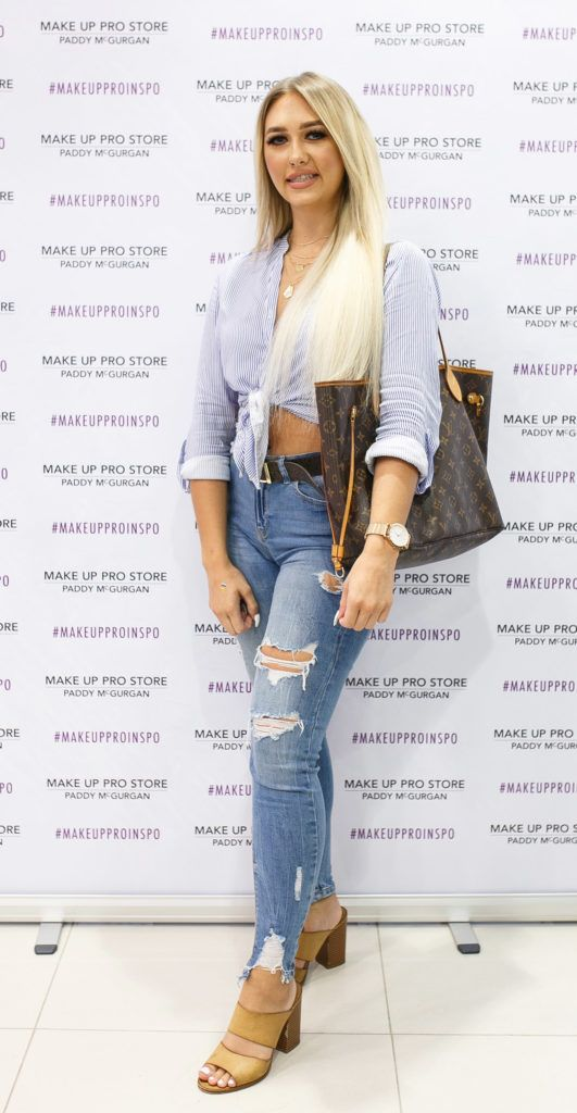 Jamiee Brennan at the opening of the newly relocated Make Up Pro Store in Derry Picture: Brendan Gallagher